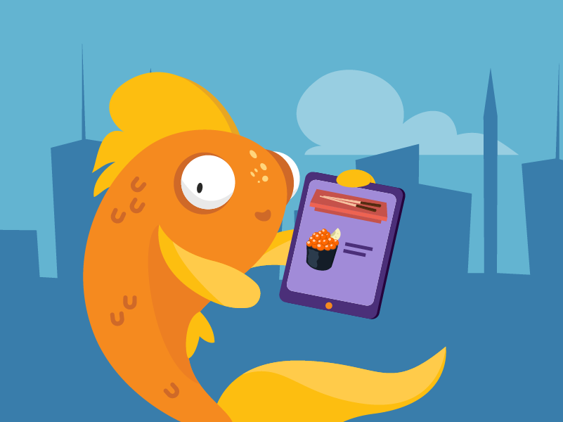 A fish holding a tablet computer