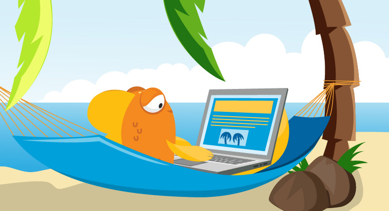 A fish lies in a hammock on a laptop