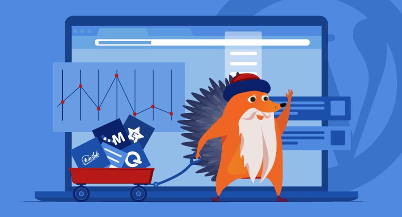 A bearded hedgehog pulls a cart of graphs