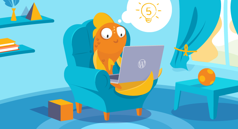 Fish working at a laptop on a comfy chair