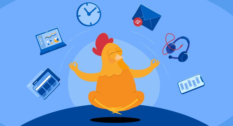 Chicken meditating imagining technology