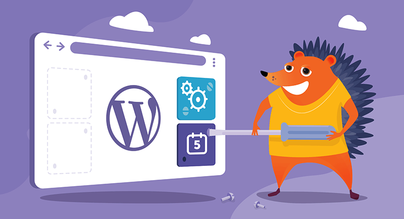 The process of adding a widget to a page in WordPress is demonstrated.