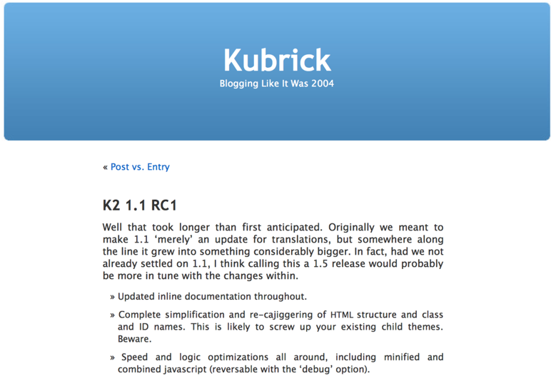 A screenshot of the default theme from WordPress 1.5, Kubrick, is displayed.