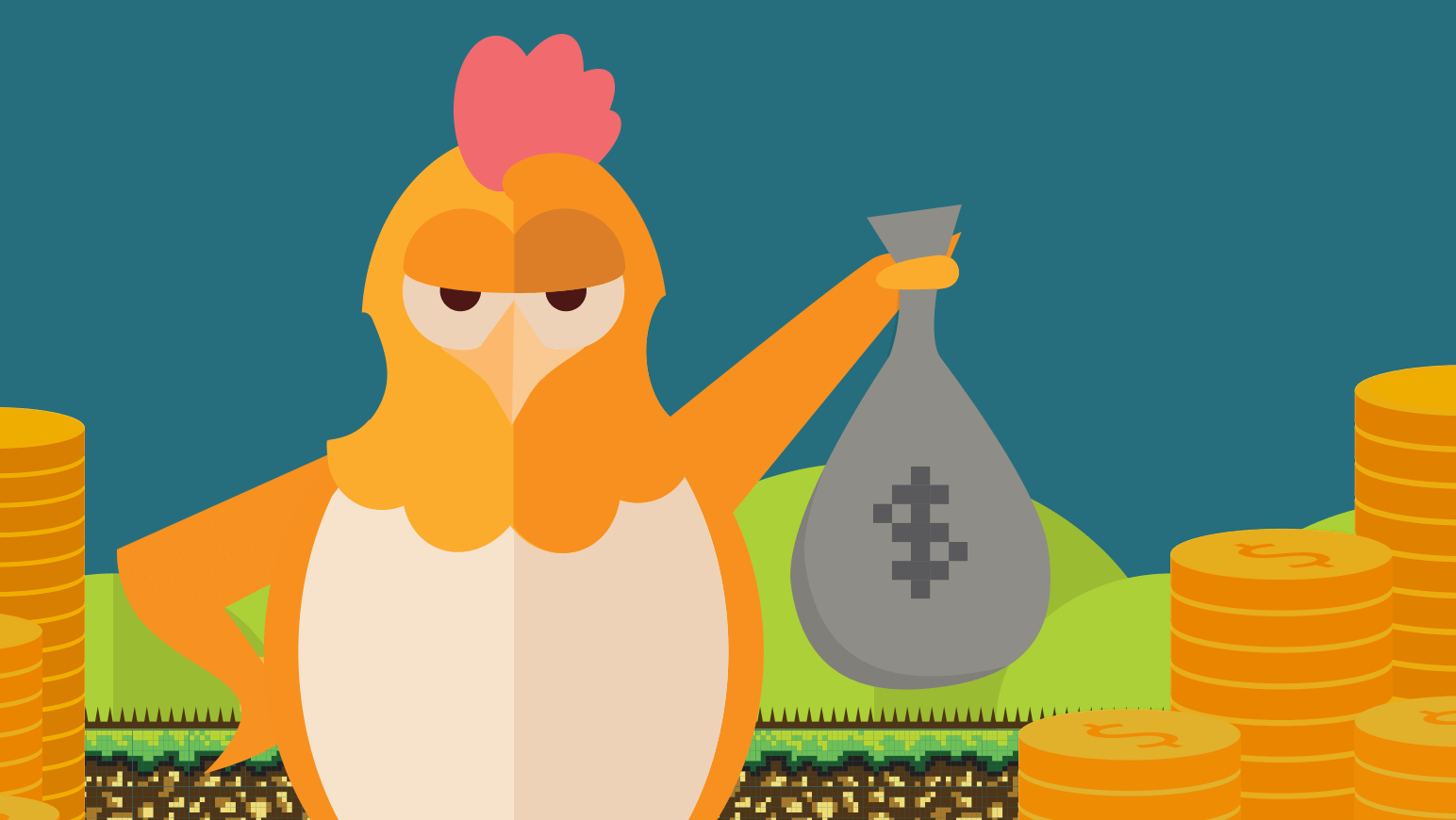 An illustration of the Namecheap chick is shown holding a bag of money, representing the need of WordPress developers to generate revenue.