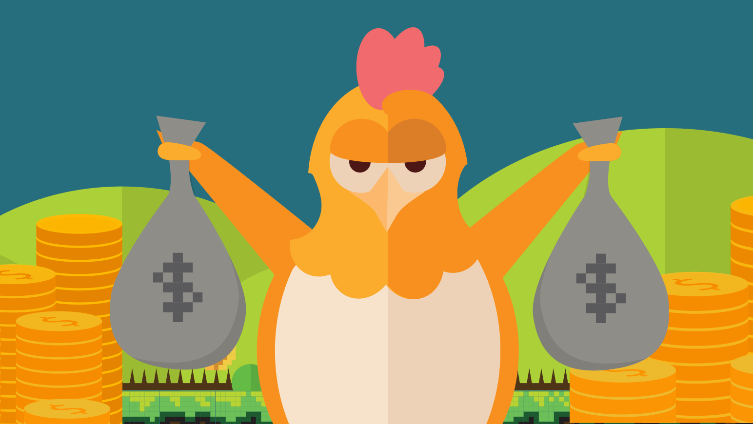 The Namecheap chick now holds two bags of money, showing how revenues for WordPress grew rapidly.