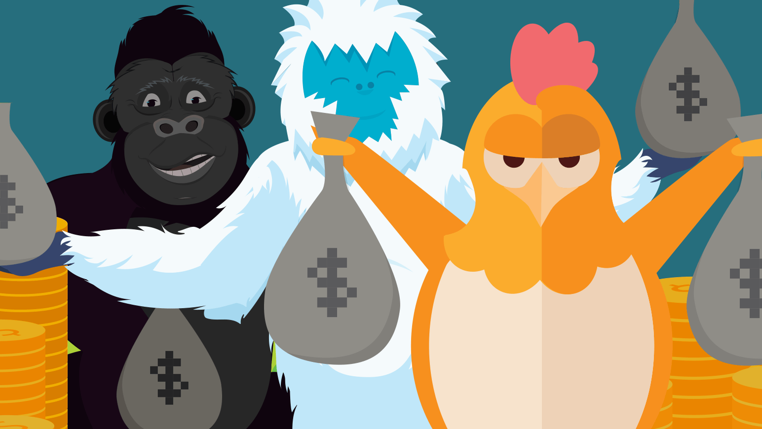 Several of Namecheaps brand mascot characters hold up bags of money, to symbolize the flourishing business of WordPress.