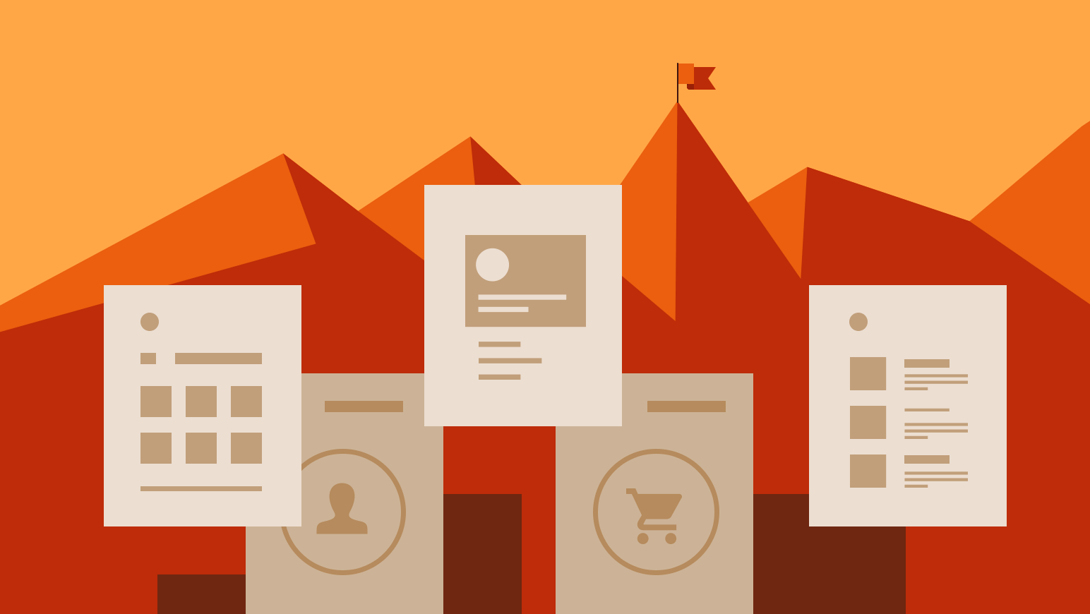 Five common WordPress page layouts are shown as illustrations.