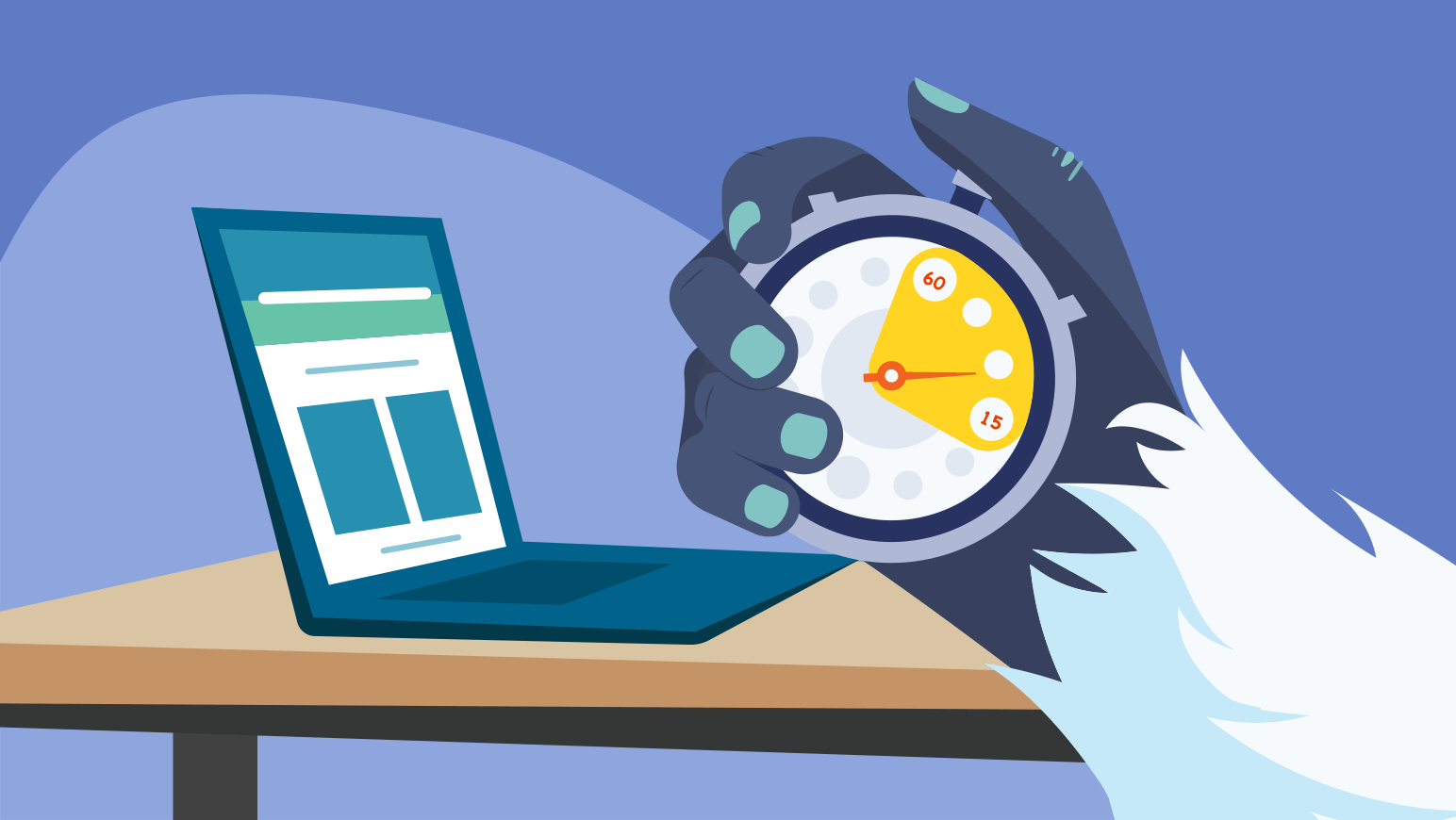 An illustration of a yeti hand holds a stopwatch, showing how WordPress software allows for fast page speeds.