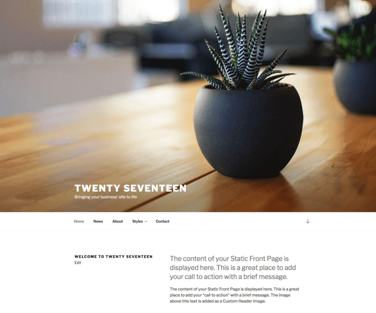 A screenshot of the default theme from WordPress 4.7, Twenty Seventeen, is shown.