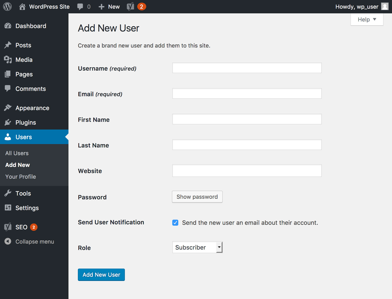 The Users area of the WordPress dashboard is displayed, showing the required fields to add a new user.