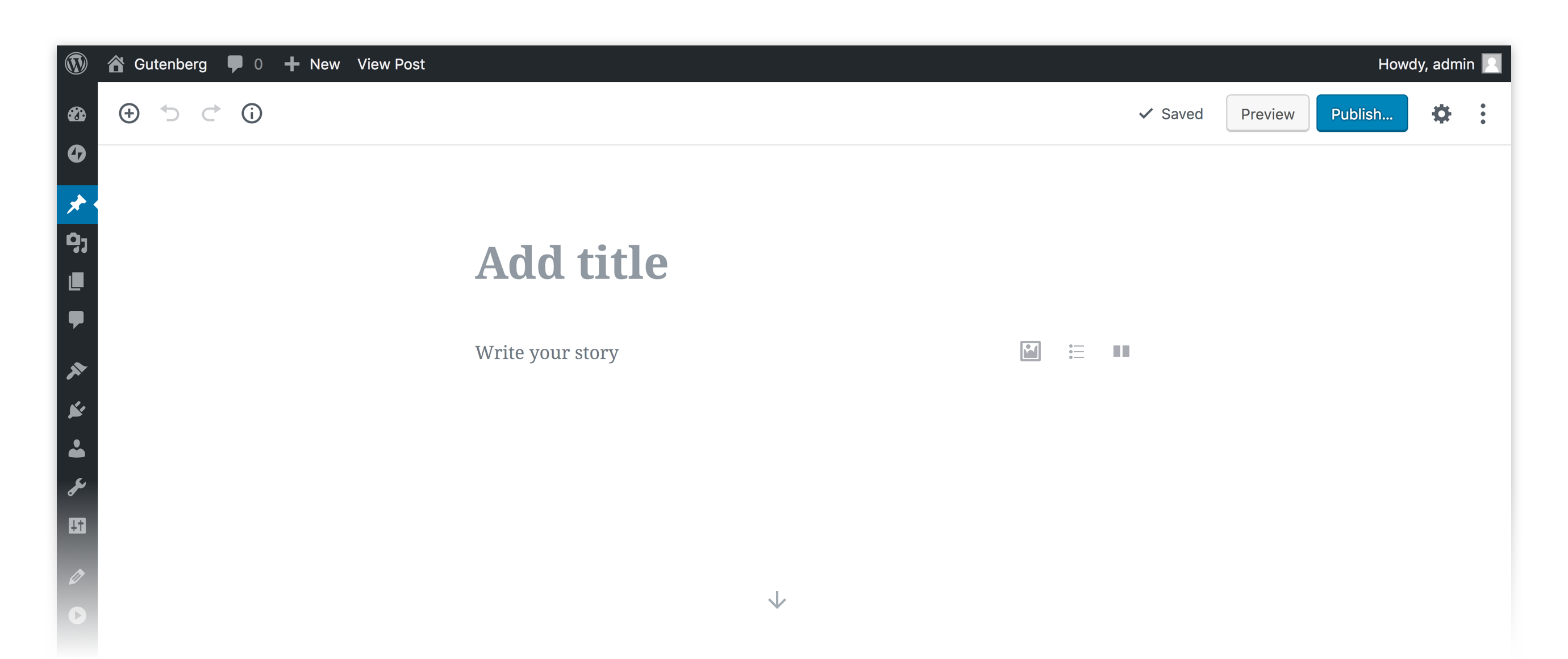 A screenshot appears, displaying the basic Gutenberg editor in WordPress.