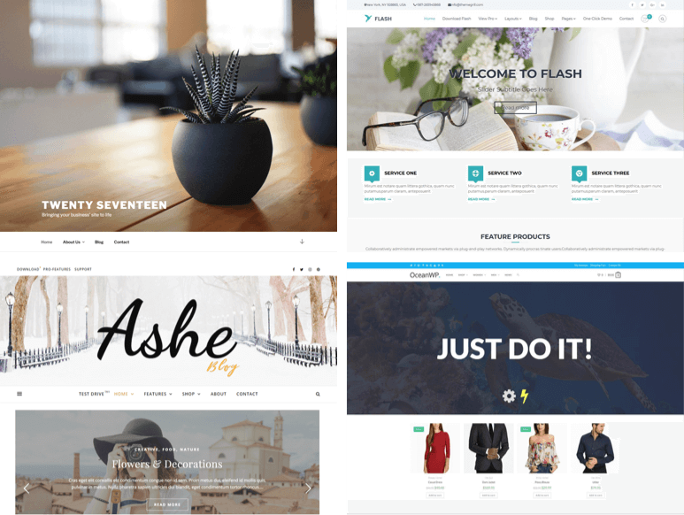 Several examples of popular free WordPress themes are shown.