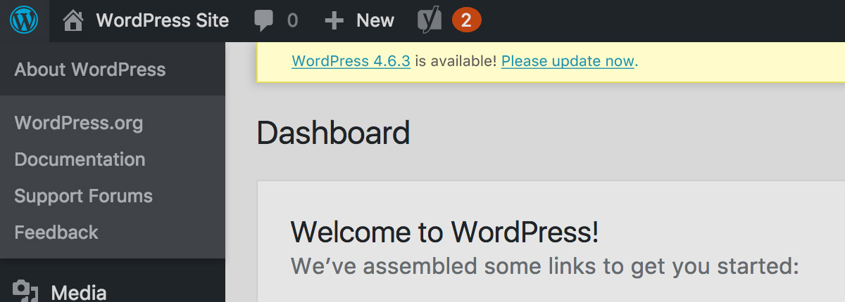 An alert banner is shown at the top of the WordPress dashboard, with a promt to update to the lastest version of WordPress.