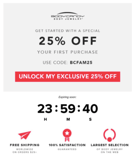 An example of a countdown offer widget