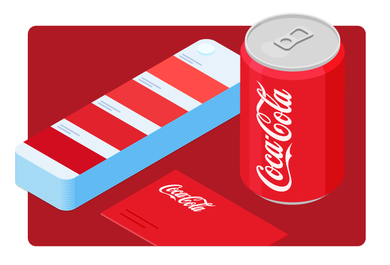 A can of Coca-Cola is shown next to a color swatch with shades of red.
