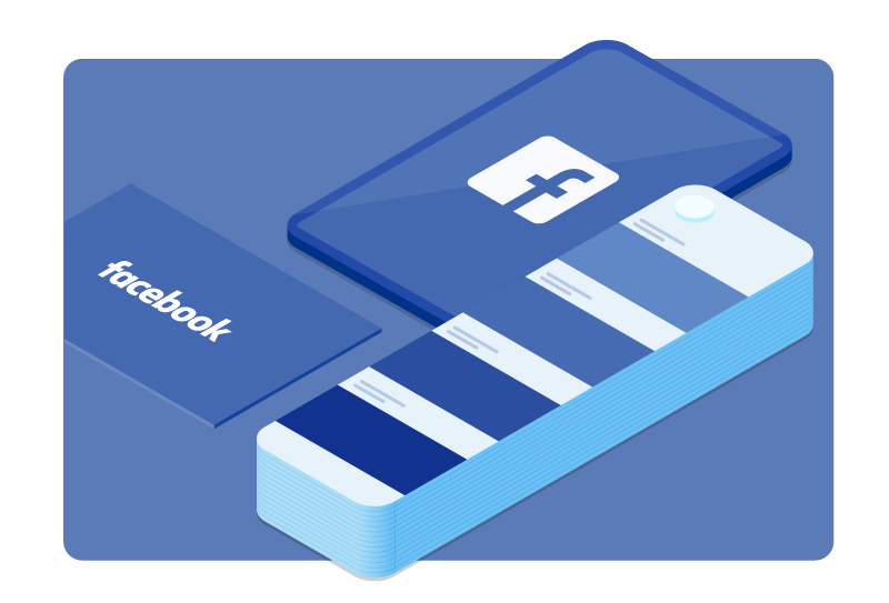 The Facebook logo is shown next to a color swatch with shades of blue.