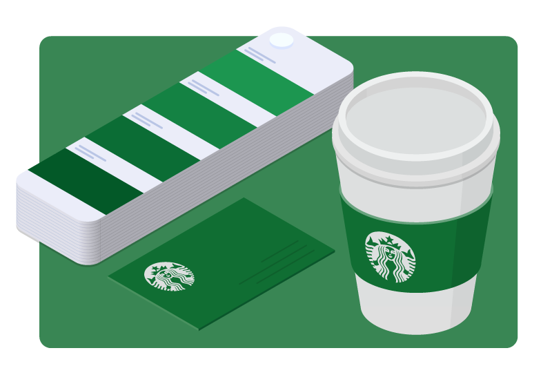 A Starbucks cup is shown next to a color swatch with shades of green.