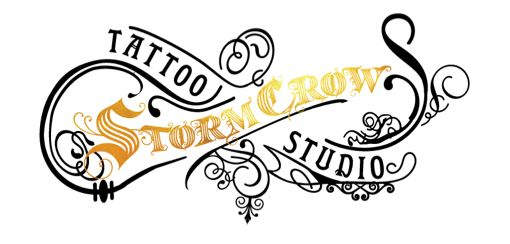 A scrolling example of a tattoo studio logo in black, white, and shades of gold