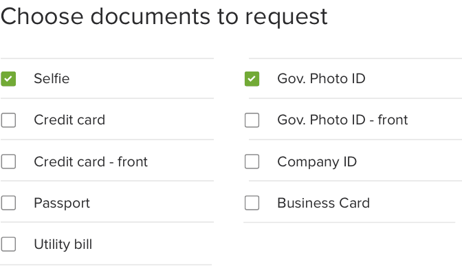 Example of configuration screen requesting identity documents