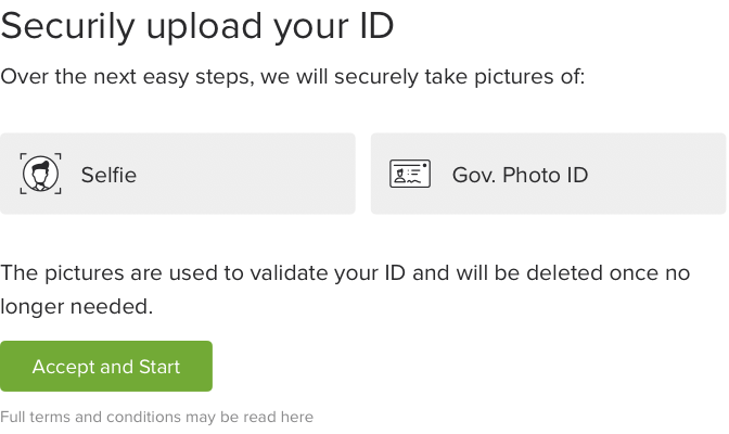 Example of photo ID check upload screen
